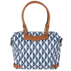Rebecca Minkoff Ikat Nylon Travel Tote Studs Navy